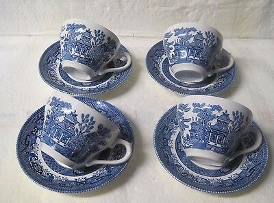 Set of 4 vintage style  Churchill willow pattern cups and saucers, wedding cafe