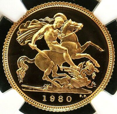 1980 Gold Great Britain Half Sovereign St. George Coin Ngc Proof 69 Ultra Cameo