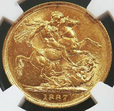 1887 S Gold Australia Sovereign St. George Young Head Coin Ngc About Unc 58