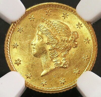 1853 Gold United States Liberty Head $ 1 Dollar Coin -Type 1 - Ngc Mint State 61