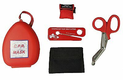 Firefighting Tool Kit -CPR Rescue Mask - Glove Pouch - CPR Kit & Trauma Shears