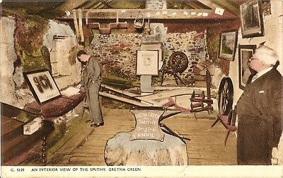 Picture Postcard. Interior view of the Smithy Gretna Green