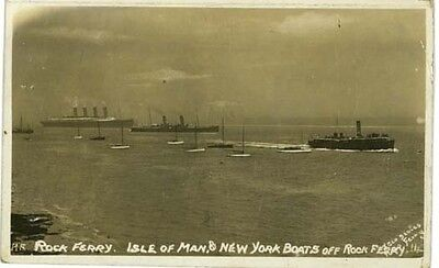 Wirral - Isle Of Man Boat +  Lpool-New York Liner + Ferry Off Rock Ferry 1915.