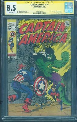 Captain America 110 CGC SS 8.5 Stan Lee Sign Jim Steranko art 1969 White pgs