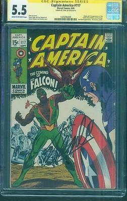 Captain America 117 CGC SS 5.5 Stan Lee Signed 1st Falcon 1969 C/OW Sinnott