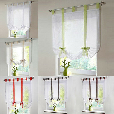 Rod Pocket Lifting Rome Window Kitchen Bathroom Curtain Screens Bow-knot