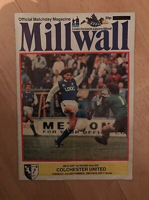 Millwall V Colchester United 1985 Milk Cup PROGRAMME.