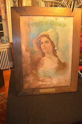Extremely Rare Antique Ivory Soap 'Purity' Advertising Print Original Oak Frame