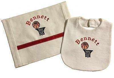 Handmade Personalized Embroidered Red Basket Ball Hoop Bib Burp Cloth