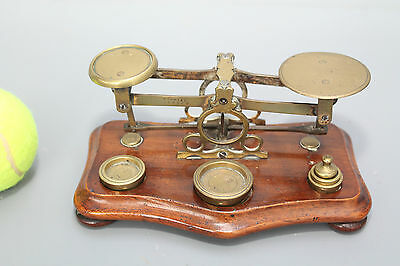 Antique Set of Domestic Scales and Brass Weights on Mahogany Base