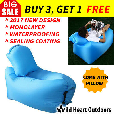 2017 Model Fast Inflatable Air Bag Sofa w Air Pillow Blue Lounge Laybag Camping