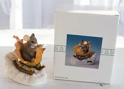 Charming Tails One Mouse Open Sleigh Special Ed 1997 #98/195 Fitz/Floyd w/Box