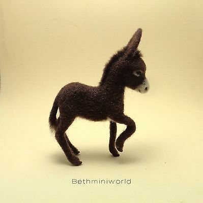 OOAK 1:12 Dollhouse Realistic Miniature Baby Donkey - Poseable - Pet - Animal