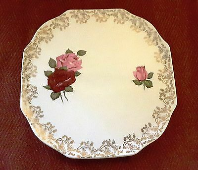 LORD NELSON POTTERY 3323 Cake Plate Vintage 1930s with Roses and Gold Gilt