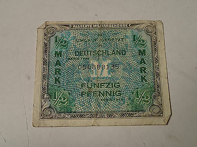 Germany - Half Mark Bill, Banknote, Currency, Paper Money 1944 Military WWII