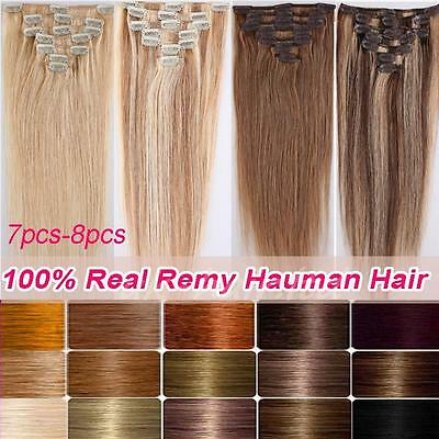 """AAA+ Clip In Real Remy Human Hair Extensions Full Head 15""""-22"""" 7PCS-8PCS US U760"""