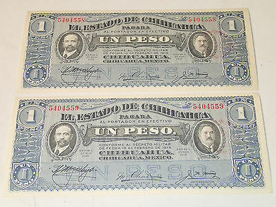 Mexico: Chihuahua - 1 Peso Bills, lot of 2 Consecutive Serial Numbers 1915