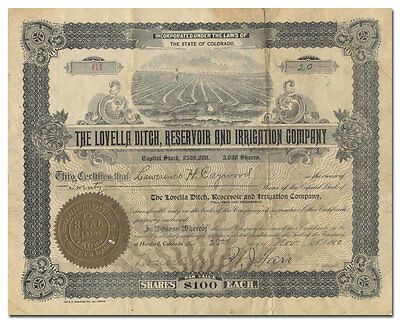Lovella Ditch, Reservoir and Irrigation Company Stock Certificate (Colorado)