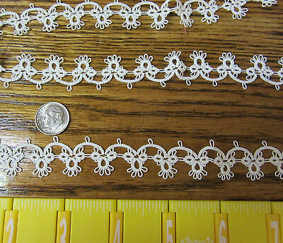 """TATTED Edging Handmade 1 2/3 yards - 60"""" White Lace Trim for Baby Doll Craft"""