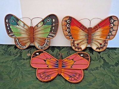 """3 Vintage Mid Century Butterfly Wicker & Fabric Wall Art Plaques Large 13"""""""