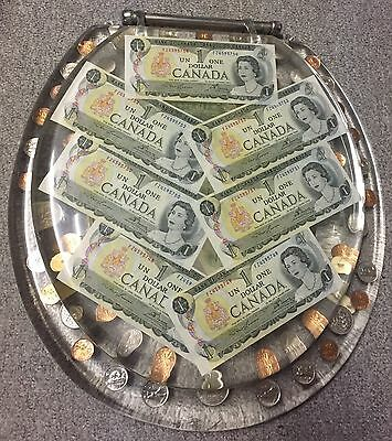 Vintage Canadian Resin MONEY Toilet Seat Mirror $1 Bills .50 Cents Quarters