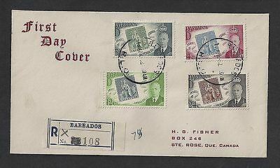 Barbados 1952 Registered FDC Centenary to St Rose Quebec