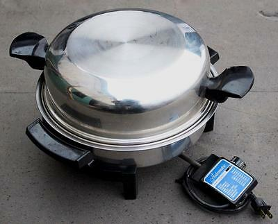 LIFETIME Liquid Core Stainless Steel 11'' Electric Skillet Frying Pan w Dome Lid