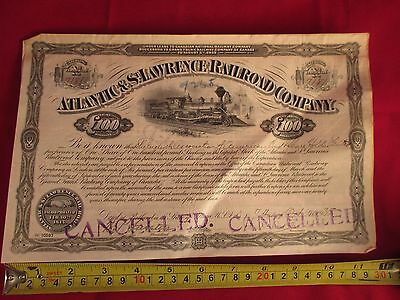 1935 Stock Certificate Atlantic & St. Lawrence Railroad Company Cancelled