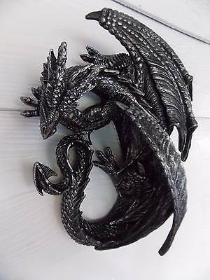 32Cm Sleeping Black Silver Dragon Statue/wall Plaque - Fantasy/gothic Giftware