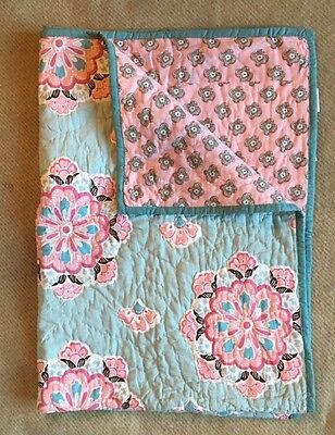 Pottery Barn Kids Brooklyn Flower Toddler Crib Nursery Quilt Aqua Blue and Pink