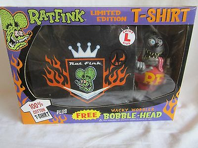 Rat Fink Limited Edition Tee Shirt L with Wacky Wobbler--new--(BH)