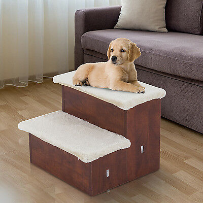 Portable Pet 2 Stair Wooden Cat Dog Puppy Ramp w/ Storage Compartment and Mat