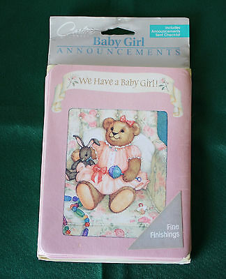 Carlton Cards~We Have A Baby Girl~Announcements~Stationary~8 PACK~USA