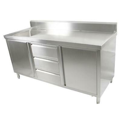 Kitchen Cabinet with Sink, Single Left Bowl, Stainless Steel, 2100x700x900mm