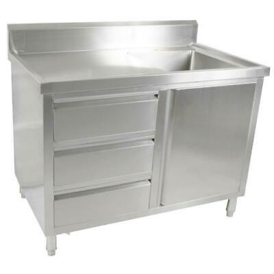 Kitchen Cabinet with Sink, Single Right Bowl, Stainless Steel, 1200x700x900mm
