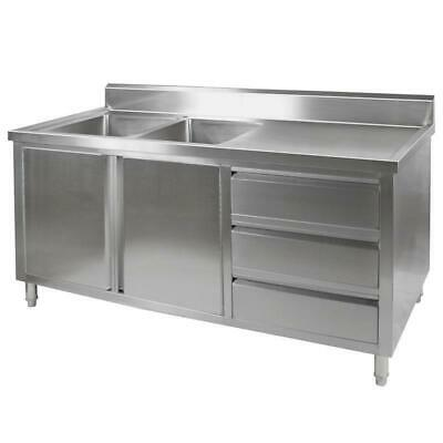 Kitchen Cabinet with Sink, Double Left Bowl, Stainless Steel, 1800x700x900mm