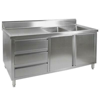 Kitchen Cabinet with Sink, Double Right Bowl, Stainless Steel, 1800x700x900mm