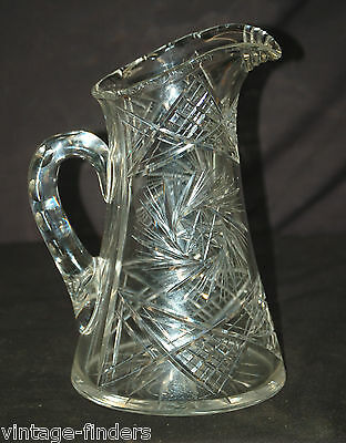 Old Vintage Tuthill Style American Brilliant Cut Glass Pitcher Hobstars Pinwheel