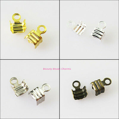 200Pcs Necklace/Cord Crimp End Caps W/Loop 4x9mm Gold Silver Bronze Plated