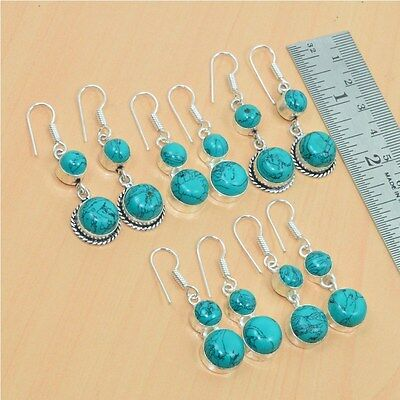 925 Silver Plated Wholesale 5Pair Lot Turquoise Classic Hook Earring Jewelry.