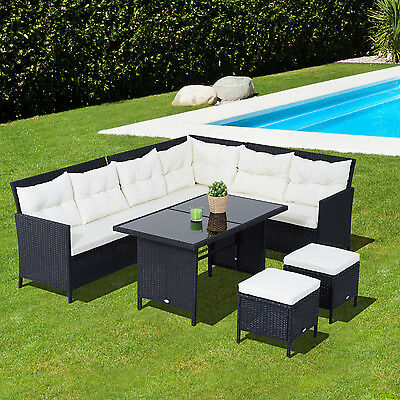 Outsunny 6pcs Wicker Rattan Set Garden Outdoor Lounge Dining Table w/ Cushions