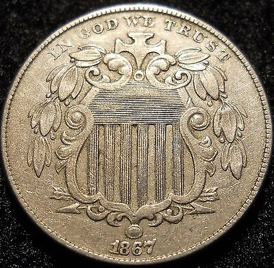 1867 Shield Nickel 5 Cent ~ XF ++ DETAILS ~ U.S. Coin Lot ! 5c Five Cent no rays