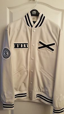 The Weeknd Official XO Roots Varsity Jacket - White Lambskin Leather - Large