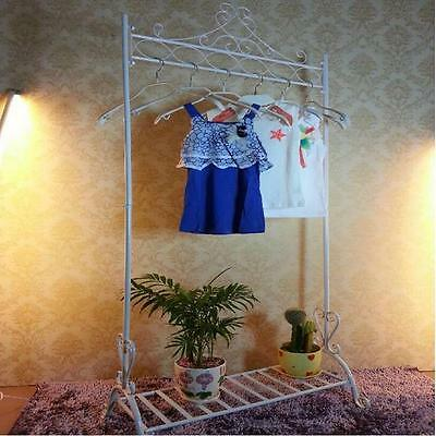 New Wrought Iron Clothes Hanging Rail Rack Shop Display Stand Dress Coat Rack