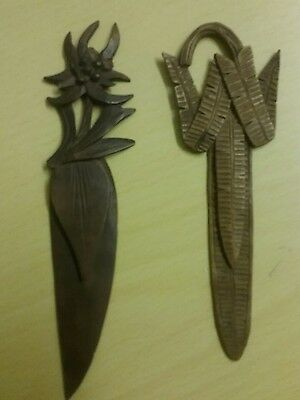 Pair of Hand Carved Wooden Bookmark / Book Marker / Page Marker