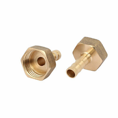 1/2BSP Female Thread 8mm Hose Barb Brass Tubing Coupler Connector Fitting 2pcs