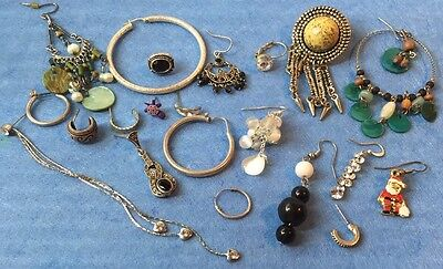 Estate Jewellery Lot Mix Vintages Single Earrings Marcasite Crystal Bead 925