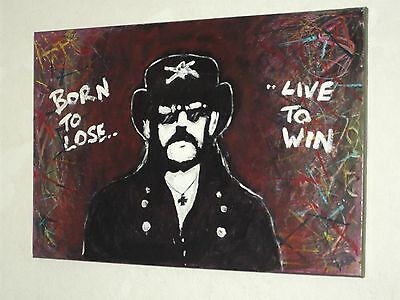 MOTORHEAD, LEMMY ,.HAND PAINTED canvas 30 X 20  INS..READY TO HANG