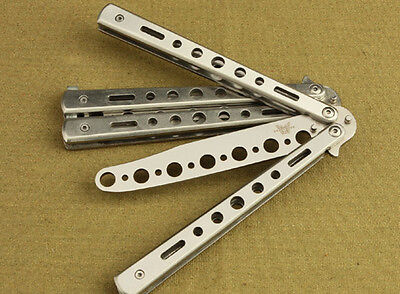 Stainless Steel Butterfly Flail Folded Knife Balisong Trainer Training Knife