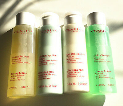 Clarins toning lotion and cleansing milk